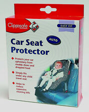 CLIPPASAFE PLACE UNDER CAR SEAT PROTECTOR, TRANSPARENT PVC WIPE CLEAN COVER