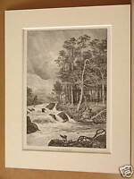GLEN DOCHART ANTIQUE MOUNTED ENGRAVING c1890 10X8 RARE