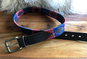 PIONEROS Embroidered Leather Polo Belt Burgundy/Blue Stripe Size 90cm/35 inch