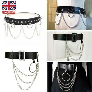 Punk Faux Leather Belt with Metal Chain Ring Street Style Waist Strap Dance UK
