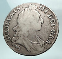 1695 GREAT BRITAIN UK British King WILLIAM III Antique Silver Crown Coin i82272