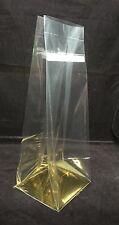 50 x Gold Block Bottom BOPP 100x100x280mm, resealable cellophane alt - BB109