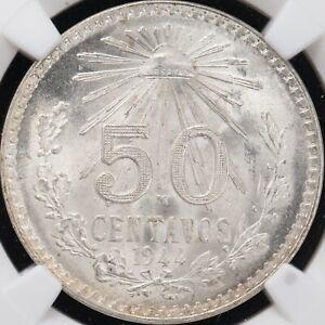 MEXICO 1944 M 50 CENTAVOS NGC MS 67!