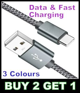 USB To TYPE-C Fast Charging Data Cable 3A Nylon  3 Colours Heavy Duty 1M 2M Lead