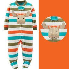 Carter's child of mine Baby Boy Deer Strip Zip Warm Microfleece pajama one piece