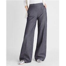 NEW EXPRESS sz 10 High Rise Wide Leg Pants Gray Pinstripe