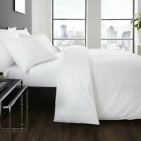 Serene Plain Dye Easy Care Duvet Cover Set Or Flat / Fitted Sheet P/Case WHITE