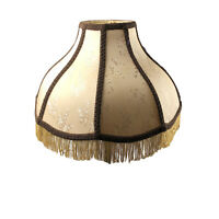 Vtg Damask Victorian Brocade Large Cream Fringe Brown Trim Lamp Shade