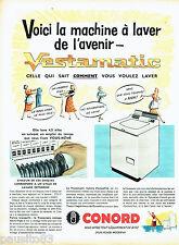 PUBLICITE ADVERTISING 066  1958  Machine à laver Vestamatic Conord