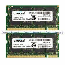 Crucial 2GB 2X1GB PC2700 DDR 333mhz 200Pin CL2.5 Sodimm Laptop Ram Memory
