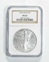 MS69 1996 American Silver Eagle - Graded NGC No Spots - Bright White
