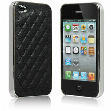 Black Luxury Aluminum Leather Hard Case Cover Skins For iPhone 4 4S