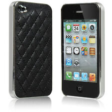 For iPhone 4 4S Luxury Aluminum Leather Hard Case Cover Skins Black