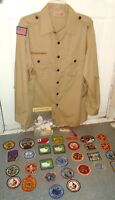SALE Lot of 35 VINTAGE Boy Scout Items-32 Patches Handbook Shirt Toothbrush/Case