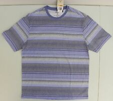 Tasso Elba Island Mens Tee Short Sleeve Crew T Shirt Pocket Blue Grey Stripe S