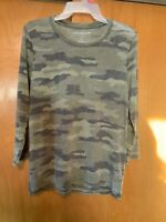 Lucky Brand NEW $40 Sz S 3/4 Sleeve Green Camo Camouflage Burnout Top Tee
