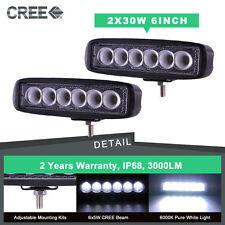 2x 6inch 30W CREE LED Work Light Bar Flood/ Spot Offroad 4WD Pickup Fog Truck