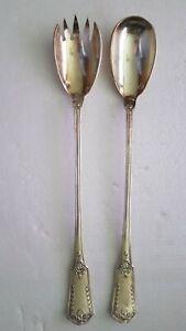 Service à salade métal argenté empire palmes PERRIN   2 pièces 28 cm