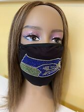 Seattle Seahawks NFL Bling Rhinestone Logo Face Mask With Filter Pocket & Filter