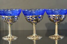 ANTIQUE CHINESE EXPORT SILVER STEMMED CUPS COBALT LINERS
