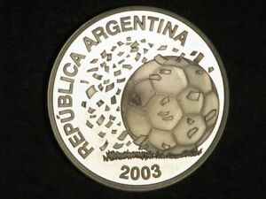 ARGENTINA 2003 5 Pesos Soccer Silver Crown Proof