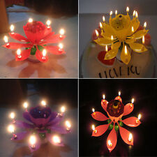 8 Candle Light Musical Lotus Flower Cake Topper Party Birthday Lamp Gift