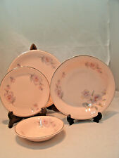 Taylor Smith TST12 Pink Plymouth Pansy 21 piece Lot Plates & Bowls USA #8372 EUC