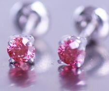 Pink Round Diamond 0.40 carat 14k WG Stud Earrings  HPHT Valentineday Spl. Sale