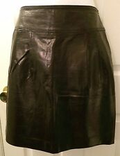 New EXPRESS Dark Brown Leather Pencil Skirt Side Pockets Sz 6 High Waist Nwot
