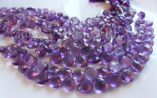 "6"" strand PURPLE AMETHYST faceted gem stone heart briolette beads 7mm - 10mm"