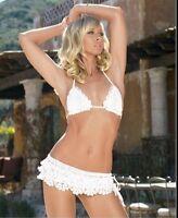 White Crochet Bra Top & Mini Skirt LEG AVENUE S M 8 Hippy Boho GLAMOUR Sequin