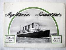 AQUITANIA & MAURETANIA -- 2nd Class Brochure, 1920 -- Cunard Line
