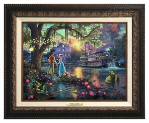Thomas Kinkade Princess and the Frog 12 x 16 Canvas Classic (Aged Bronze Frame)
