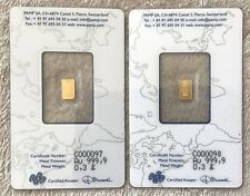 PAMP SUISSE - RARE FRACTIONAL .3 GRAM SEQUENTIAL SERIAL NUMBER GOLD BULLION SET