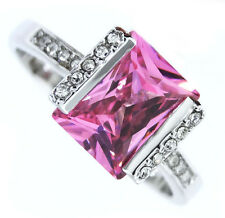 7ct Rose Pink CZ Stone Silver Rhodium Plated Ladies Ring Size 10