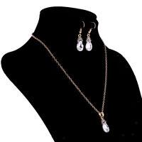 Luxus Kristall Halskette Ohrringe Hochzeit Braut Fancy Schmuck Set Weiß
