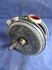 """A VINTAGE 3 1/8"""" C FARLOW  PATTERN 10b TROUT FLY REEL WITH RED AGATE LINE GUARD"""
