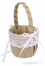 Flower Girl Basket Vintage Burlap Jute Lace Bow