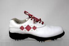 FootJoy Comfort Argyle Stitch Pink White Soft Spike Golf Shoe Women Size 5 M A81