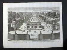 Gravure 18e AVELINE Vue Château Marly depuis Gde Cascade vers nord et St-Germain