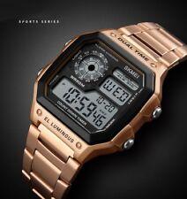 Mens Digital Quartz Wrist Watch Sport Waterproof LED Stainless Steel UK STOCK