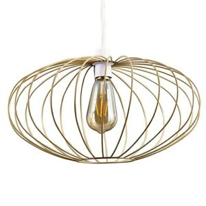 Industrial Wire Cage Ceiling Light Shade Easy Fit Pendant + LED Filament Bulb