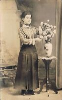 RPPC Real Photo Postcard ~ Woman Arranges Flowers in Arts & Crafts Vase ~ Quebec
