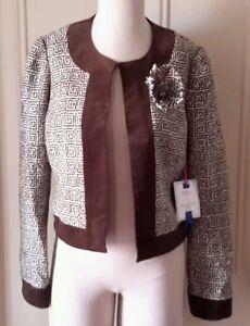 Andrea Becker Athena Short Blazer Open Wrap Jacket Wool Velvet Womens 8 NWT