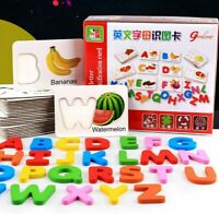 Kid's Wooden Toy Puzzles 26 ABC English Letters Spelling Card Vegetable & Fruit