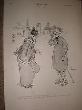 Lewis Baumer cartoon old lady meets a drunk 1897 old print