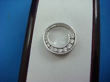 "HIGH END 1 CT GRADUATED DIAMONDS ""CIRCLE OF LOVE"" PENDANT-SLIDE 14K WHITE GOLD"