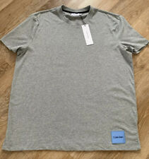 CALVIN KLEIN Sueded Relax Fit T-shirt Grey XL Jersey BNWT Short Sleeve RRP £49