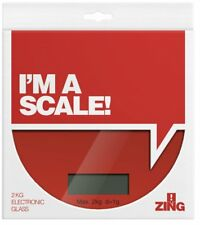 Electronics Digital LCD Kitchen Scales 2 KG, Glass, Flat Red