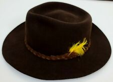 Vintage Mallory by Stetson Pure Wool Felt Hat Cowboy Western Coffee Brown 7 1/8